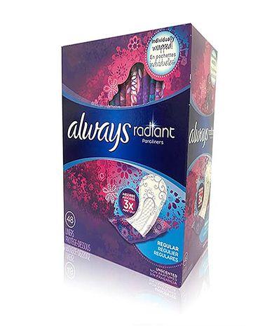 Always 液體衛生棉-美國限量版(幻彩)-加長護墊(15.5cm*48片)*2盒