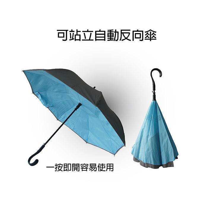 《自動開反向傘〉#晴雨傘#自動開#耐風#專利外深灰+內黃玫瑰色