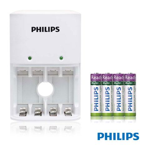 PHILIPS 經濟型鎳氫電池充電器 白 + 4號4入低自放電池