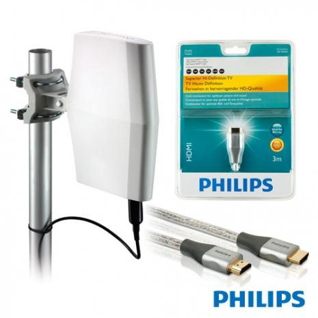 PHILIPS 室內/戶外兩用型數位天線超值組(含3米頂級HDMI線)