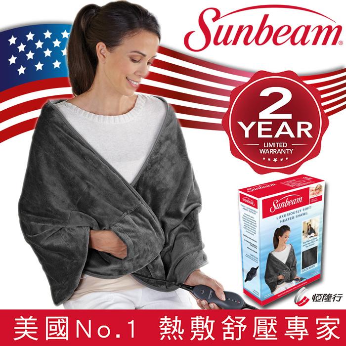美國Sunbeam-柔毛披蓋式電熱毯(氣質灰)