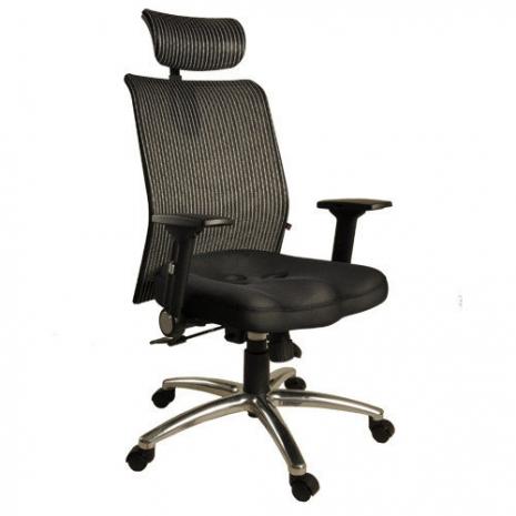 【凱堡】鐵娘子挺腰護脊高背頭枕透氣網布電腦椅/辦公椅