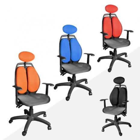 【凱堡】雙背腰頭靠調整透氣辦公椅/電腦椅(四色)黑