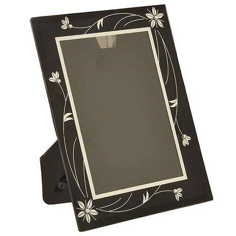 【凱堡】晶鑽玻璃5*7直橫式相框(花葉黑)【Z05013】