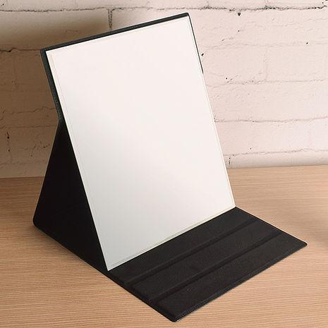 【凱堡】格紋化妝鏡/摺疊鏡/桌鏡(大型31x26)黑