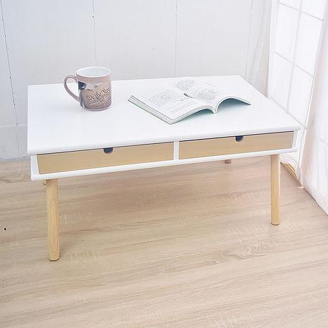 凱堡 雙抽屜實木腳 TV電視櫃 和室桌 茶几桌(原木白)