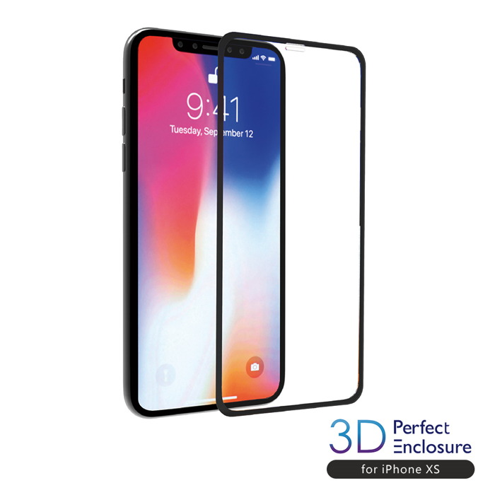 【美日台熱銷搶貨中】ABSOLUTE PERFECT ENCLOSURE iPhone XS/X(5.8吋)專用 日本旭哨子3D滿版0.2mm 2次強化耐衝擊玻璃9H高硬度抗沾黏螢幕保護膜