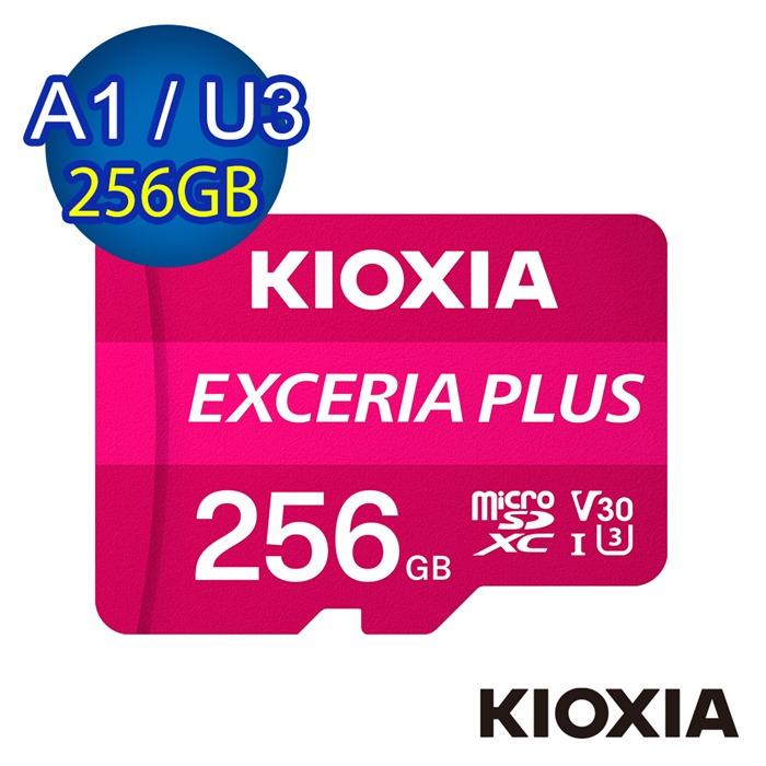 【TOSHIBA】KIOXIA EXCERIA PLUS Micro SDHC UHS-I (U3/V30/A1) 256GB 記憶卡 (台灣製造 / 附轉卡)【LMPL1M256GG2】