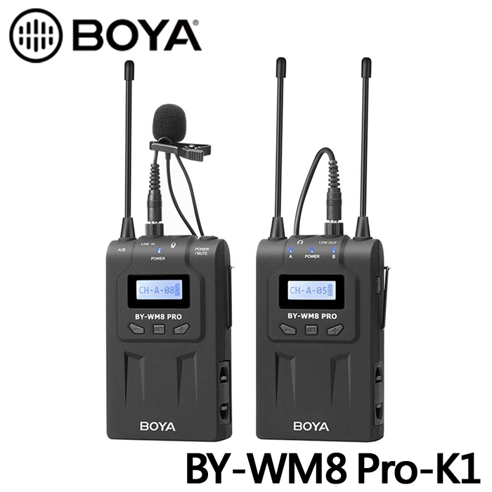 BOYA 博雅 BY-WM8 PRO-K1 (TX8+RX8) 雙通道無線麥克風(立福公司貨)
