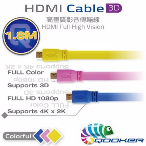 酷可-HDMI-1.4版-3D高畫質傳輸線扁平線-1.8M藍色