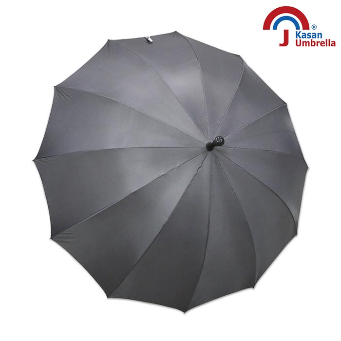 【Kasan】大傘面12K銀素自動直傘(鐵灰)