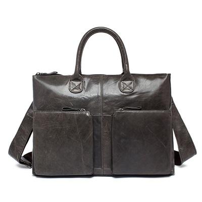 手提包瘋馬皮公事包-牛皮大容量肩背電腦男包包3色73lo10【米蘭精品】