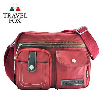 【TRAVEL FOX 旅狐】撞色雙層隨身斜背包 TB605-04 紅色