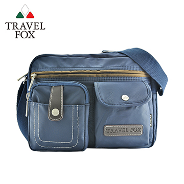 【TRAVEL FOX 旅狐】撞色雙層隨身斜背包 TB605-47 藍色