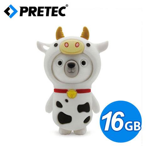 PRETEC《熊熊蹺家歷險記》動物變裝隨身碟(乳牛款) 16GB
