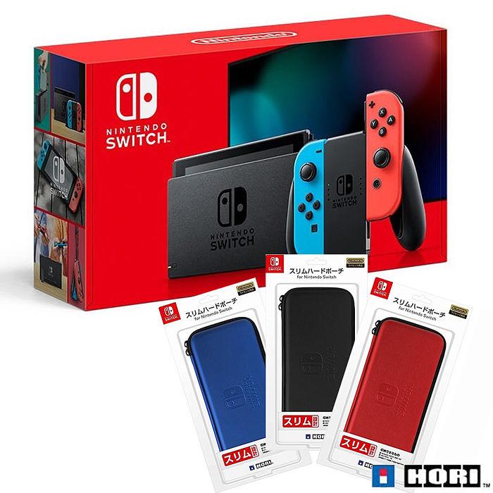 任天堂Switch紅藍主機(電量加強版)+HORI硬殼收納包《遊戲卡帶盒+玻璃保護貼+手把果凍套含類比組》