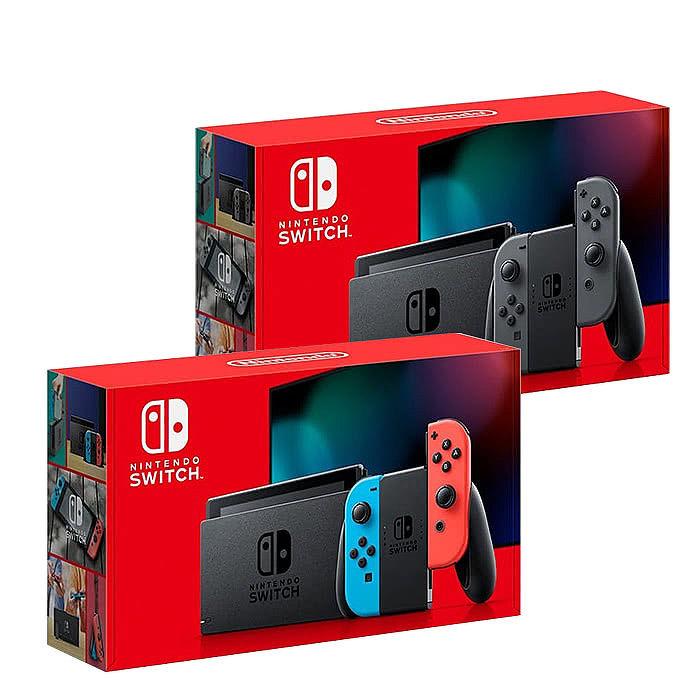 任天堂Switch主機紅藍(電量加強版)+128G記憶卡+HORI硬殼收納包《遊戲卡帶盒+玻璃保護貼+手把果凍套含類比組》