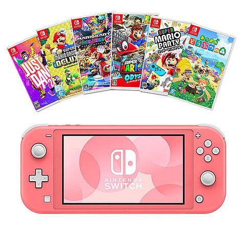 任天堂Switch Lite主機(珊瑚)+《精選遊戲12選1》+《送:主機硬殼收納包+玻璃保護貼+遊戲卡帶盒》