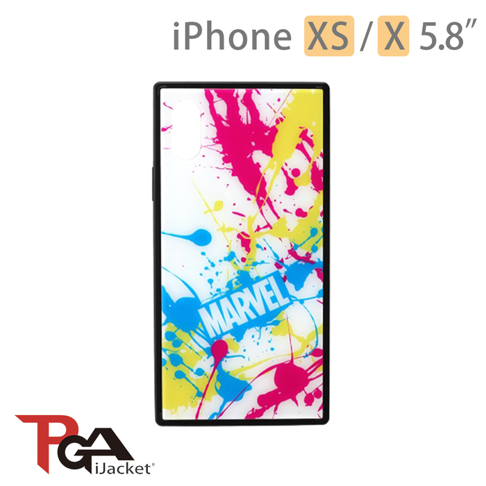 日本PGA iPhone XS/X 5.8吋 Marvel 漫威英雄 四角氣墊 防撞 玻璃殼-潑墨白