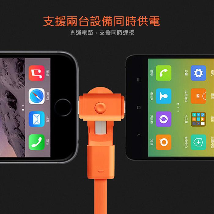 《二合一旋轉充電線》Apple Lightning 8Pin & Micro 二合一 360度旋轉充電扁線-手機平板配件-myfone購物