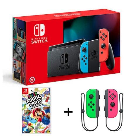 任天堂 Nintendo Switch 主機(藍紅手把)電池持續加強版+Joy-Con手把(綠粉)+超級瑪利歐派對