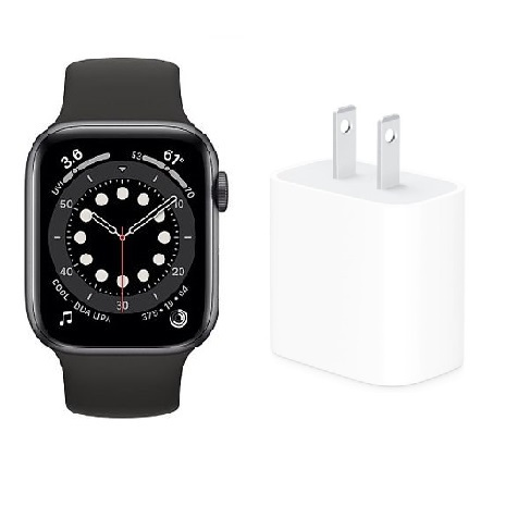 【快速出貨】Apple Watch Series6 GPS版 44mm太空灰鋁金屬錶殼配黑色運動錶帶(M00H3TA/A)+Apple 原廠20W USB-C 電源轉接器【活動】