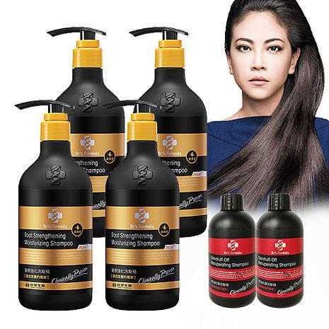 《台塑生醫》Dr's Formula髮根強化洗髮精-潤澤感(升級版)580g*4瓶+控油抗屑洗髮精100g*2瓶-特賣