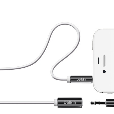Belkin 3.5mm 公母 音源延長線 iPhone iPod 白色