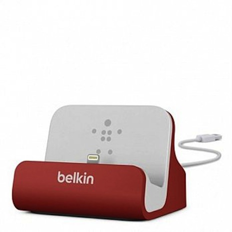 【Apple認證】Belkin Charge Dock 鋁質 傳輸 充電底座 iPhone 6Plus/6/5S / 5C / 5 紅色