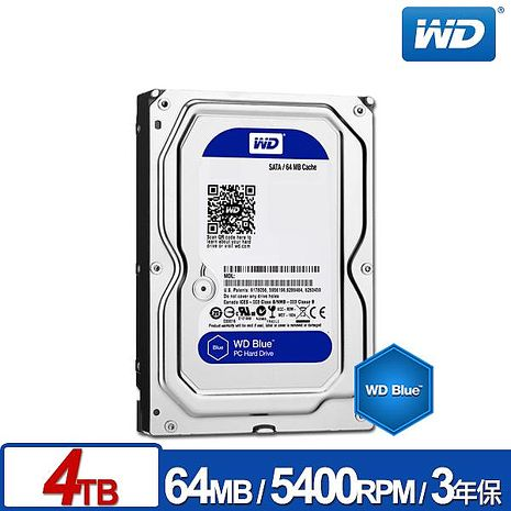 WD威騰 WD40EZRZ 藍標 4TB 3.5吋SATA硬碟/3y-3C電腦週邊-myfone購物