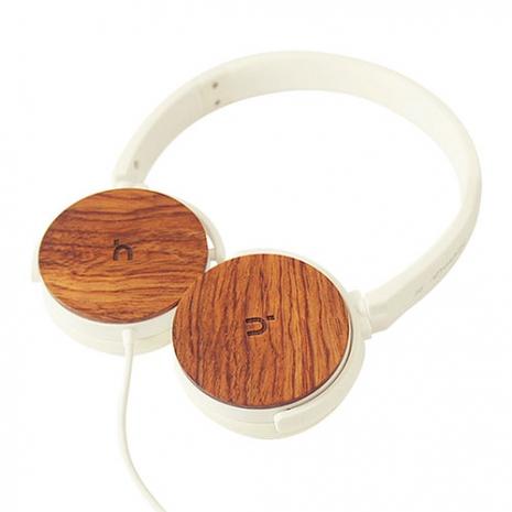 hoomia U3Wood 紅花梨原木經典耳罩式耳機-白色