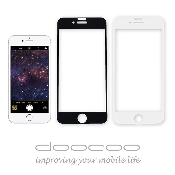 doocoo iPhone7 4.7吋『3D康寧玻璃』全滿版抗藍光保護貼黑色