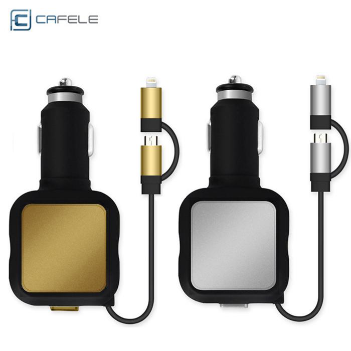 【卡斐樂】4.8A 雙USB車充 帶二合一伸縮傳輸線