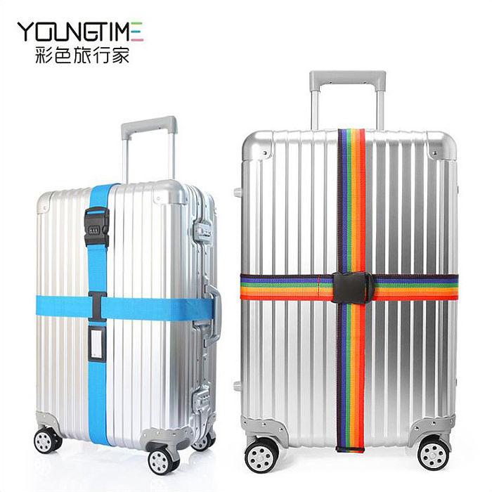 十字形密碼鎖行李箱束帶 旅行箱打包帶《APP搶購》彩虹色