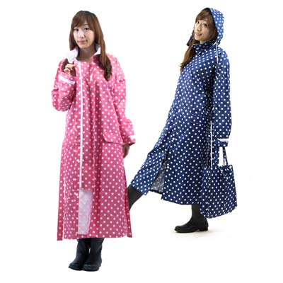 三和牌 日式時尚水玉 前開式雨衣 one size 一件入(粉色)