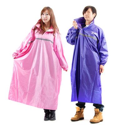 【東伸】風采型 尼龍太空型半開式雨衣(水藍/紫/粉/寶藍)紫2XL