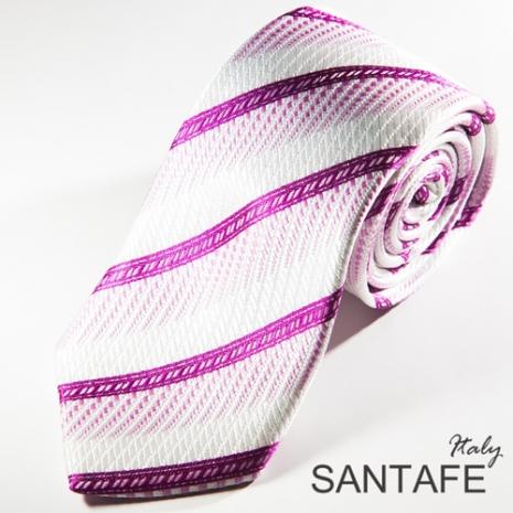 【SANTAFE】 韓國時尚粉白經典斜紋領帶 KT-131103