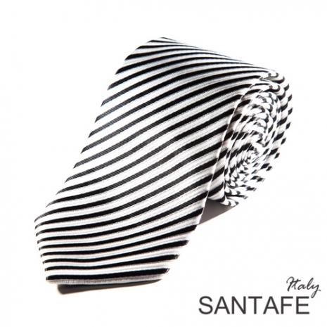 【SANTAFE 】韓國時尚黑白斜細紋領帶 KT-131101