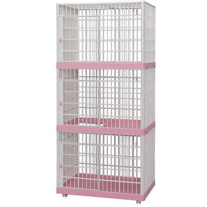 日本IRIS 移動式 精緻塑鋼三層貓籠 粉色 (IR-813-3)