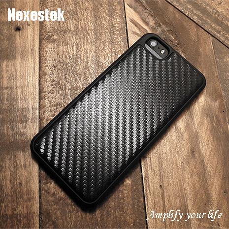 (買殼送保護貼) NexestekiPhone 5/5S/SE Carbon皮革紋手機保護殼 - 質感黑色