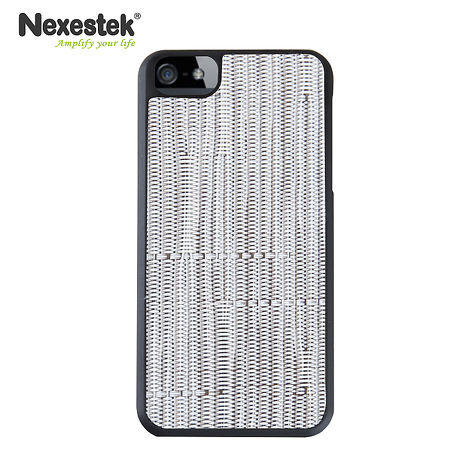 Nexestek iPhone 5/5S/SE日系TATAMI 防滑手編織感手機保護殼 - 白色