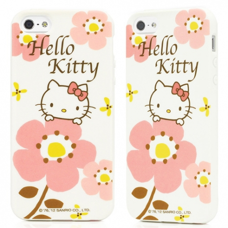 GOMO Hello Kitty for iPhone 5/5s/SE TPU保護殼-大花款白色