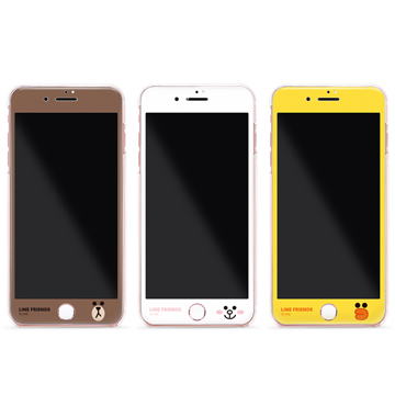 GARMMA Line Friends iPhone 7 Plus 5.5吋3D曲面珠光鋼化玻璃膜(滿版)臉紅兔兔