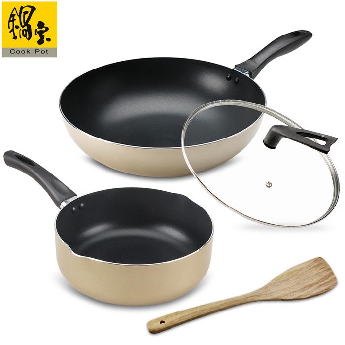 鍋寶金鑽不沾雙鍋四件組-香檳金(炒鍋+湯鍋)