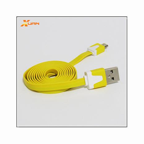 Micro USB通用款彩色麵條型傳輸充電扁線(黃色)
