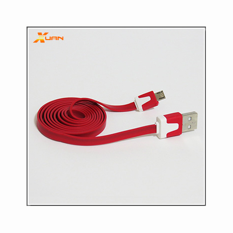 Micro USB通用款彩色麵條型傳輸充電扁線(紅色)