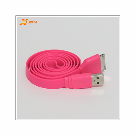 iPhone、iPad、iPod通用彩色麵條型30 PIN傳輸充電扁線(亮桃紅色)
