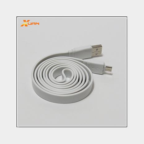 彩色大麵條扁線-Micro USB通用傳輸充電線(白色)