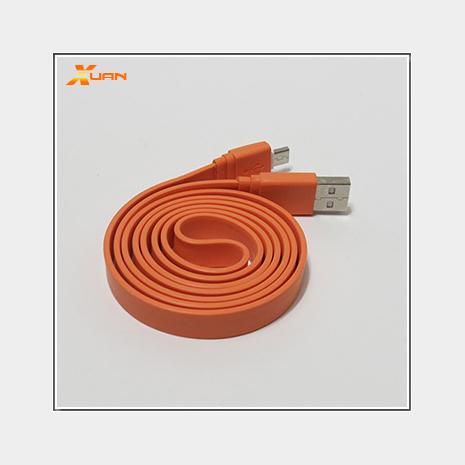 彩色大麵條扁線-Micro USB通用傳輸充電線(橘色)