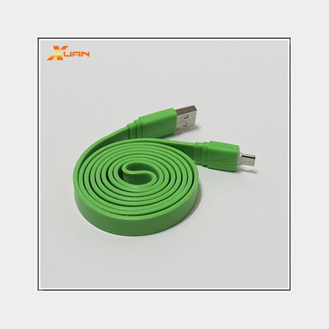 彩色大麵條扁線-Micro USB通用傳輸充電線(綠色)
